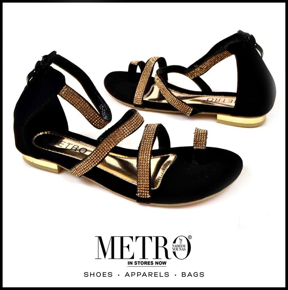 Metro Black Sandals For Eid