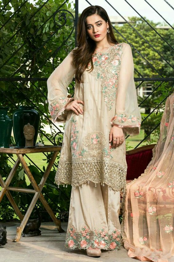 Stitching Styles Of Pakistani Dresses Beige Embroidered Chiffon Shirt