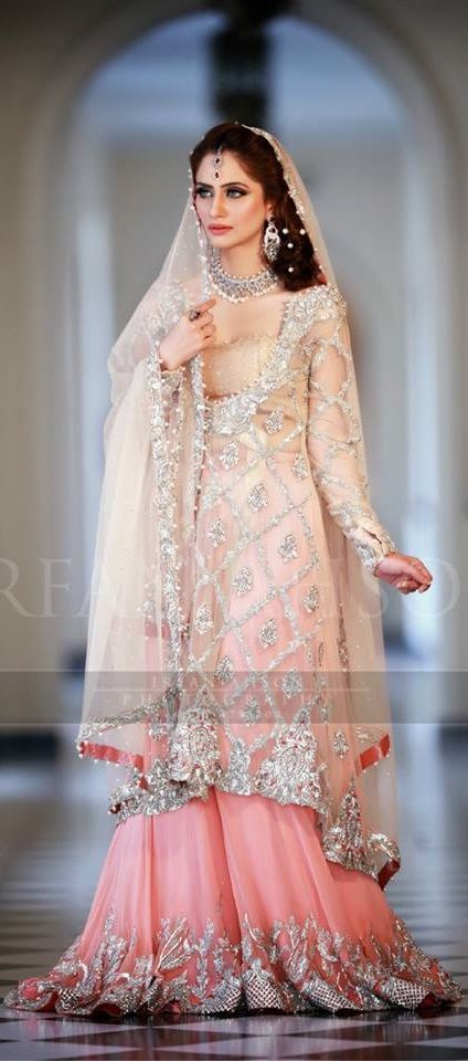 Embroidered Net Shirt With Tea Pink Lehnga Engagement Collection