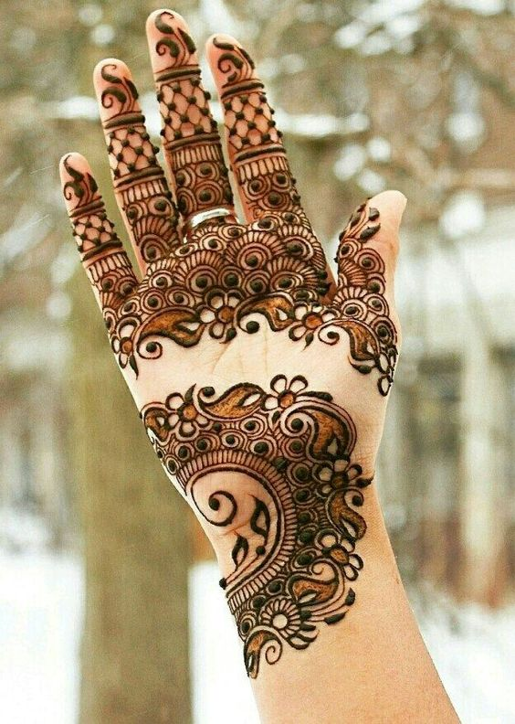 Front Hand Full Fingers Mehndi Design