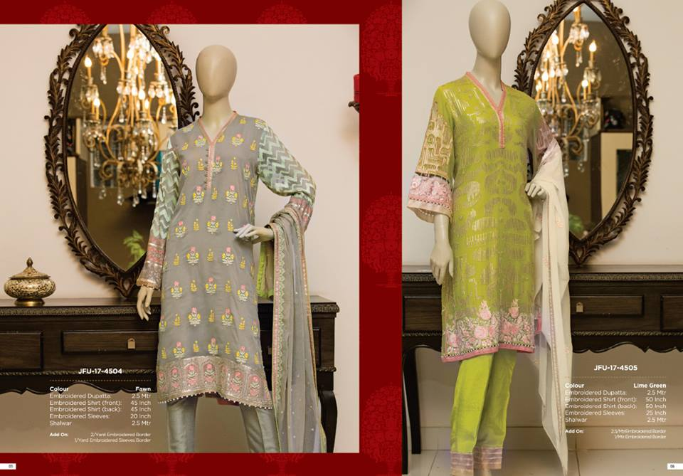 Floral Embroidery Jashn-e-Eid 2017