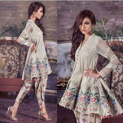 Indian and Pakistani Frock Designs Grey embroidered peplum frock