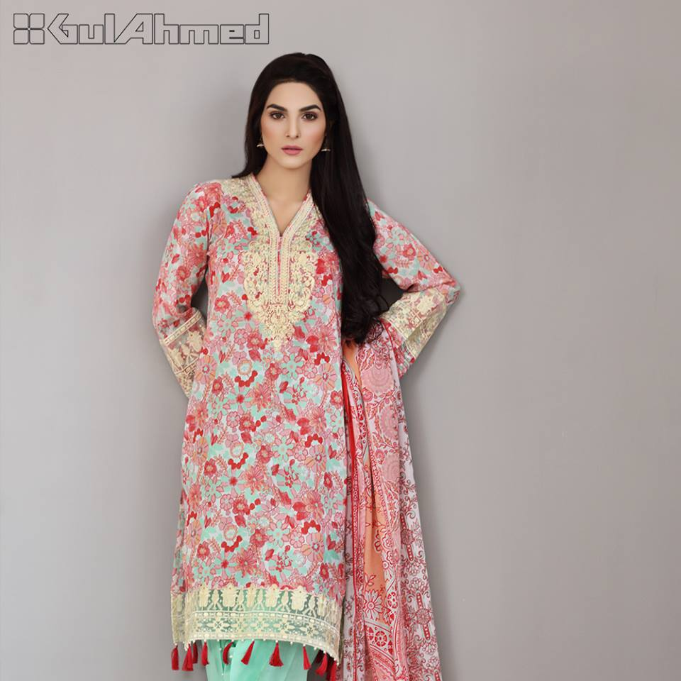 Gul Ahmed Pink Embroidered lawn Eid Collection