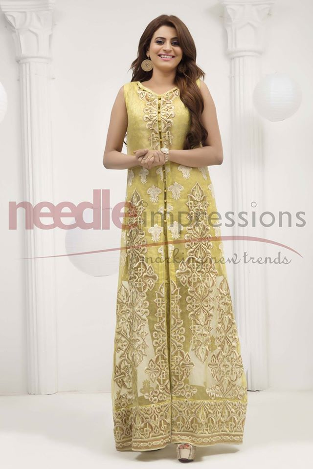 Zinc Embroided Open Shirt Needle impressions Chiffon collection