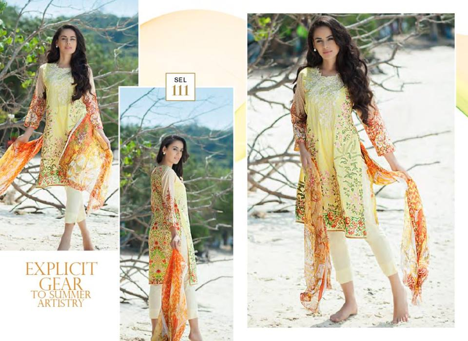 Yellowish Shirt with White Shaista Latest Embroidered Collection 2017