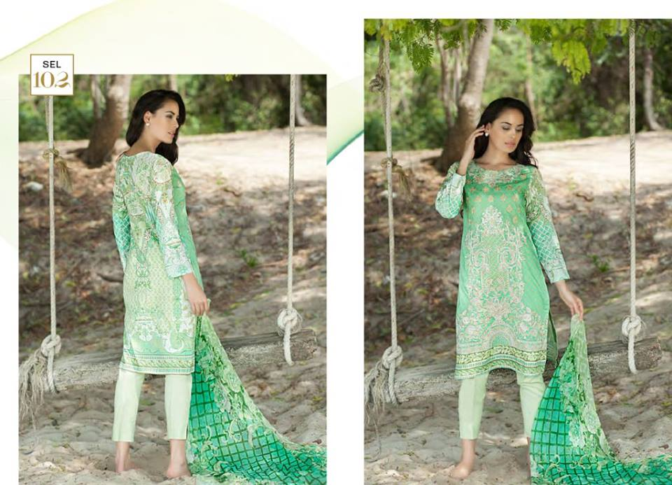 Light Green Shaista Latest Embroidered Collection 2017