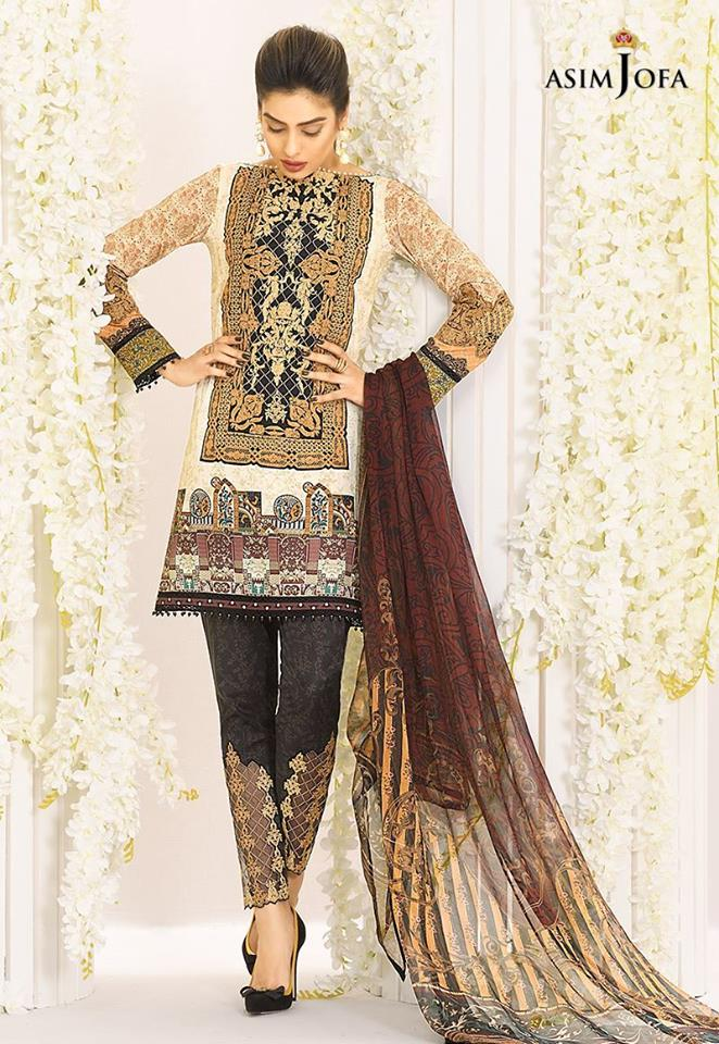 Asim Jofa Brown Digital print Latest Eid Collection