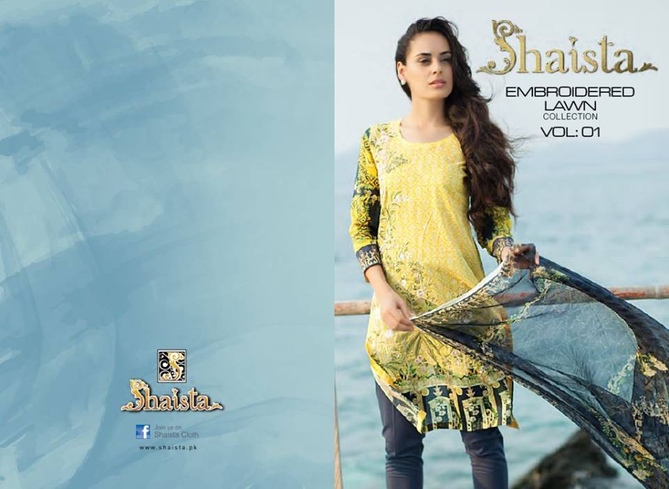 Yellow Shirt Shaista Latest Embroidered Collection 2017