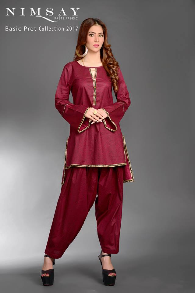 Ruby Wine Nimsay Basic Pret Collection 2017