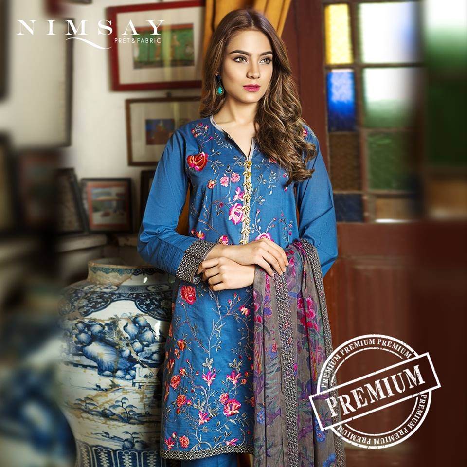 Nimsay Floral Embroidery on Blue Eid Collection