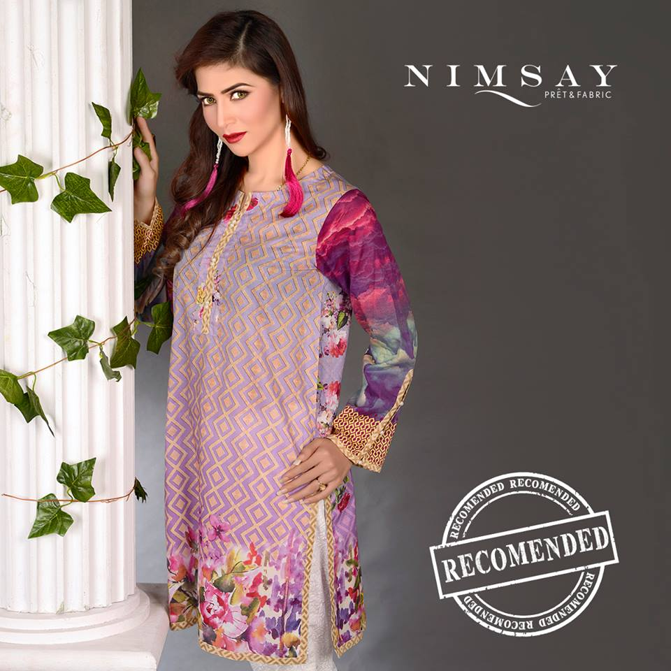Nimsay Purple floral Print Eid Collection