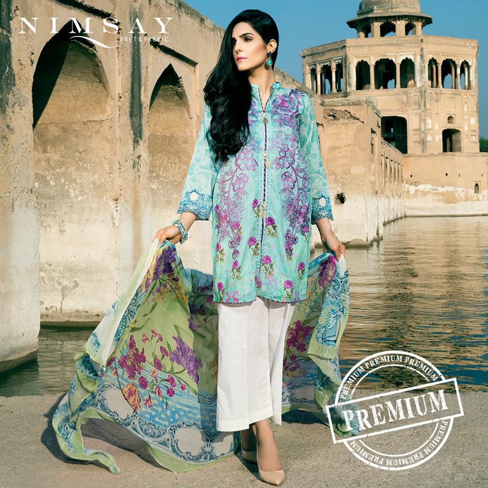 Nimsay Blue Embroidered Eid Collection