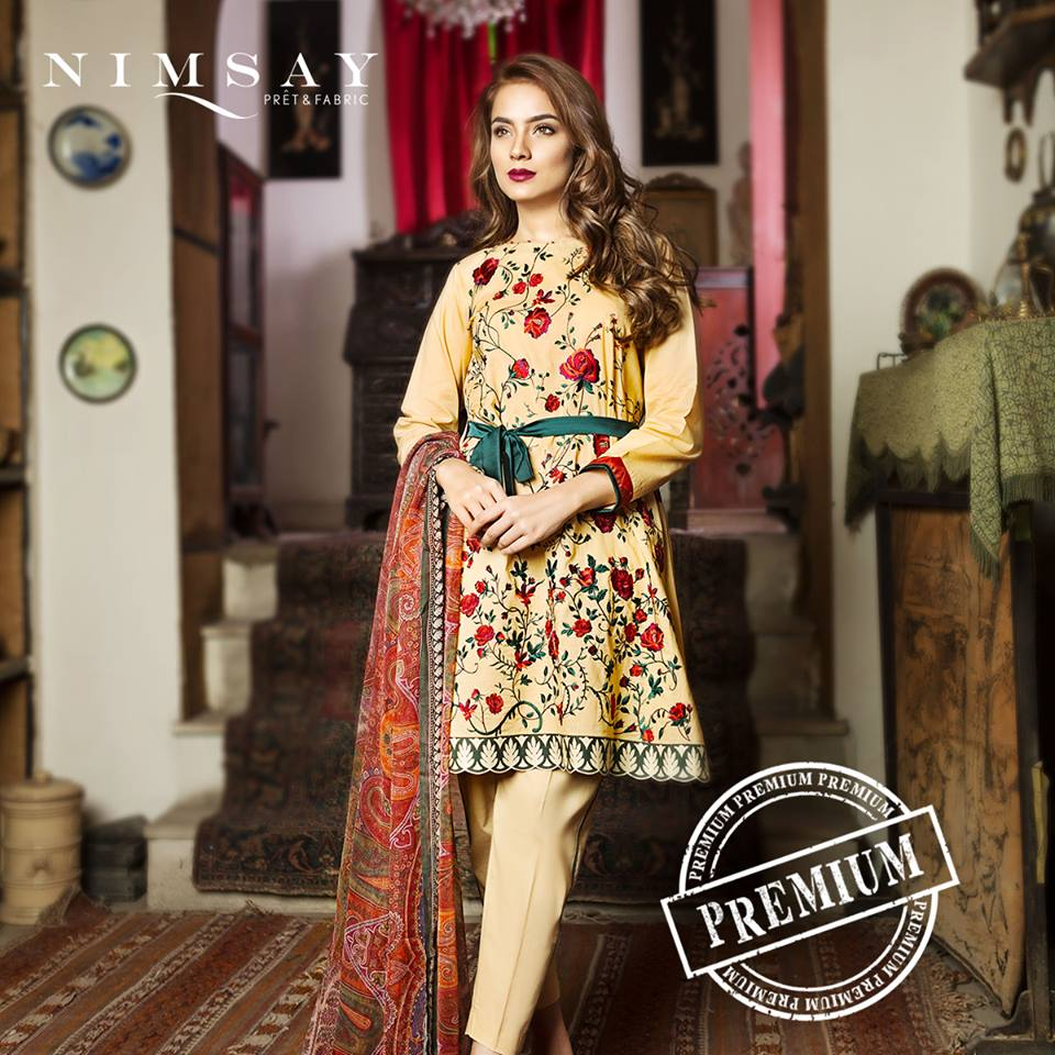 Nimsay Red Embroidery Eid Collection