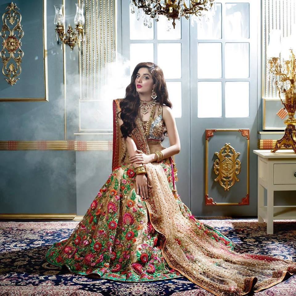 Beige Floral Lehnga Walima Collection