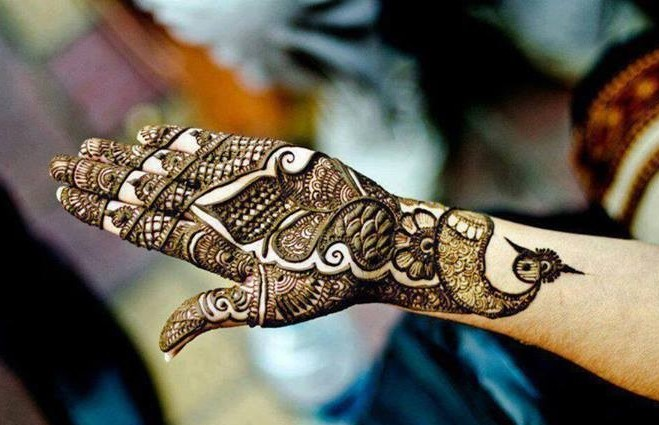 Peacock Mehndi Design for Wedding Bride