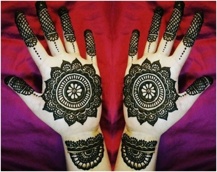 Floral Tikka Mehndi Design for Inner Hands