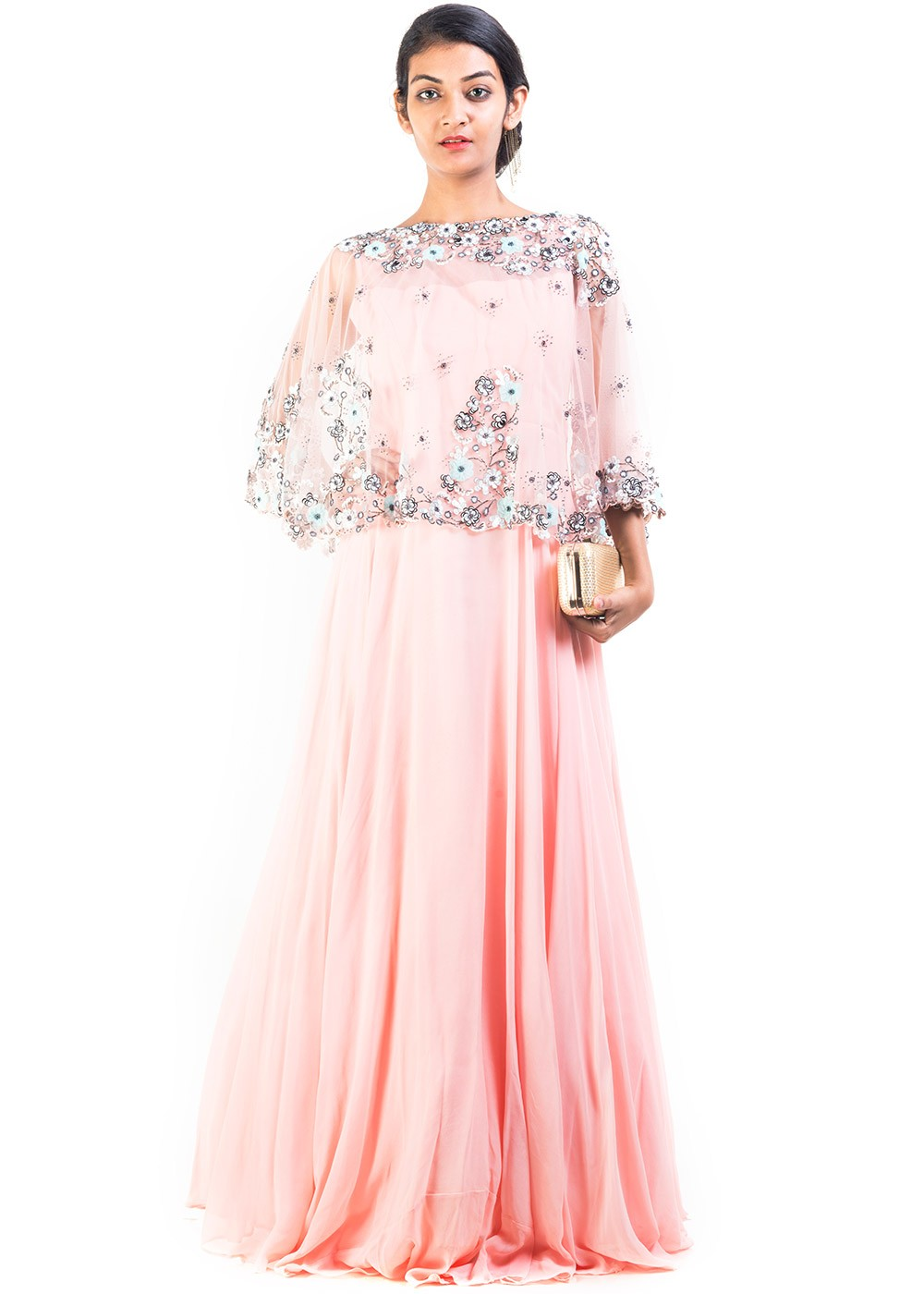 cape style pink maxi