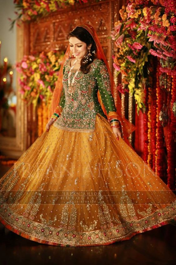 Green Choli with Dark yellow Lehnga Mehndi dresses