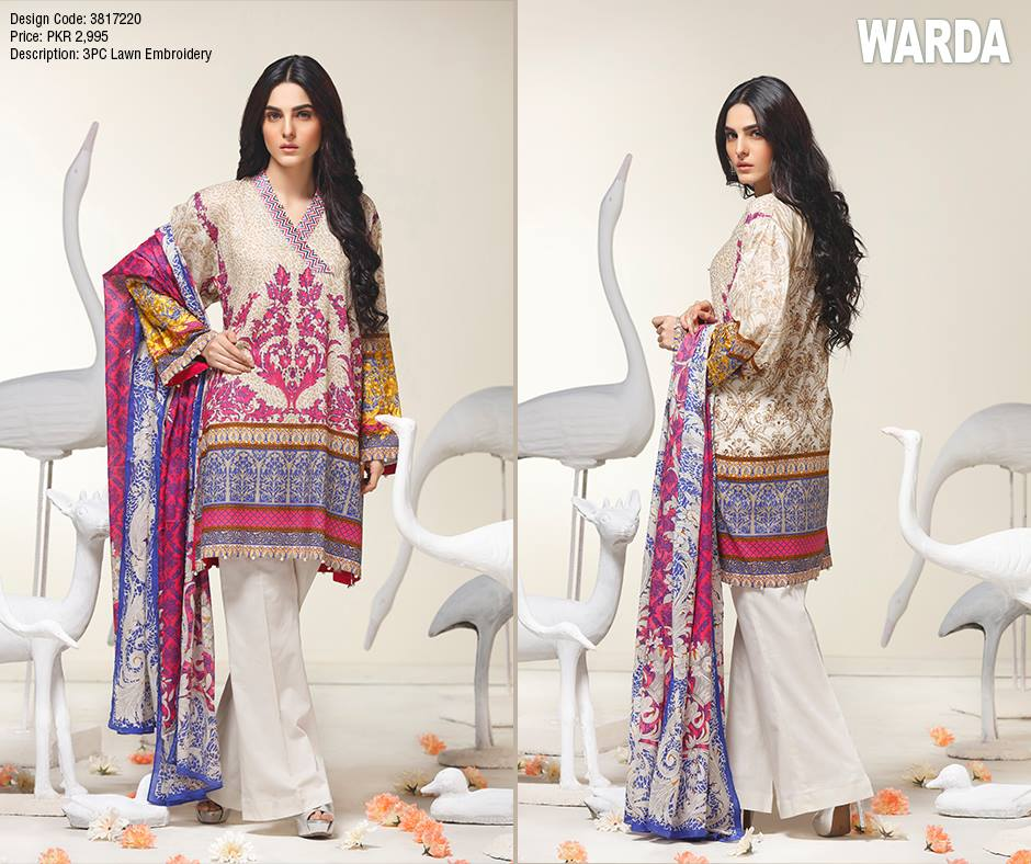 Purplish White Chiffon Warda Latest Eid Collection 2017