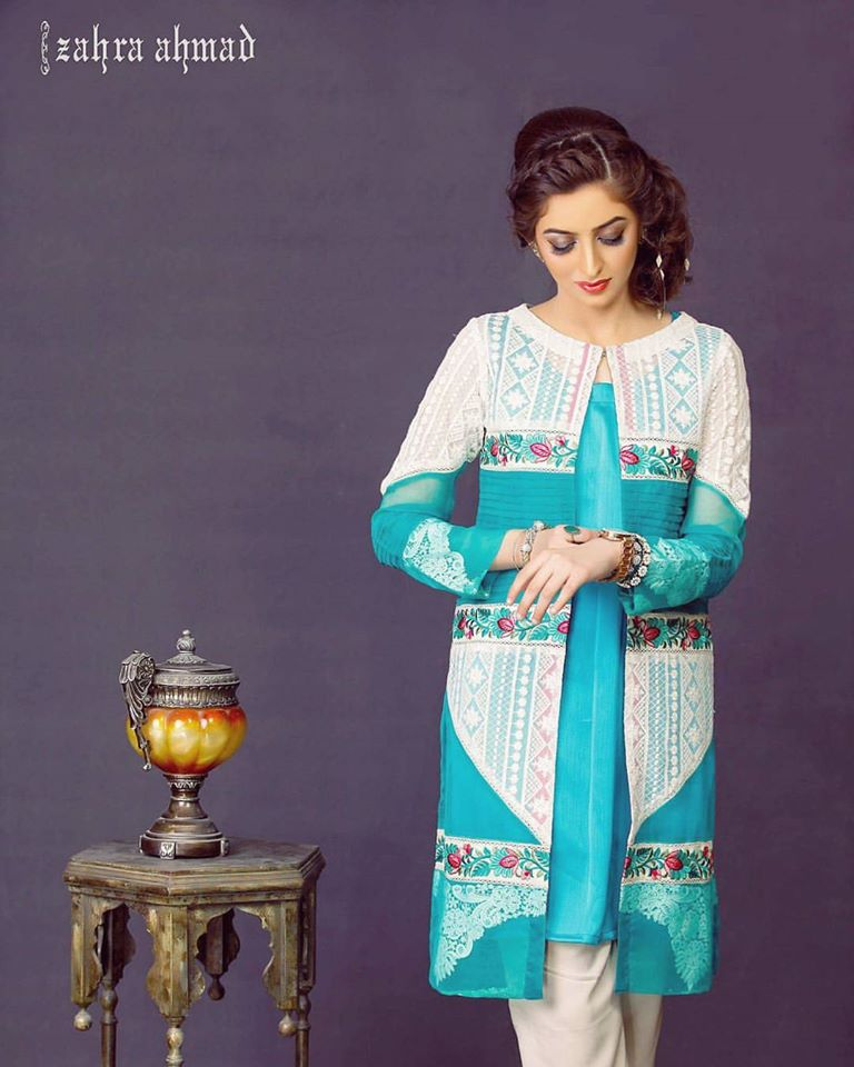 Aqua Blue Zahra ahmed Eid Collection 2017