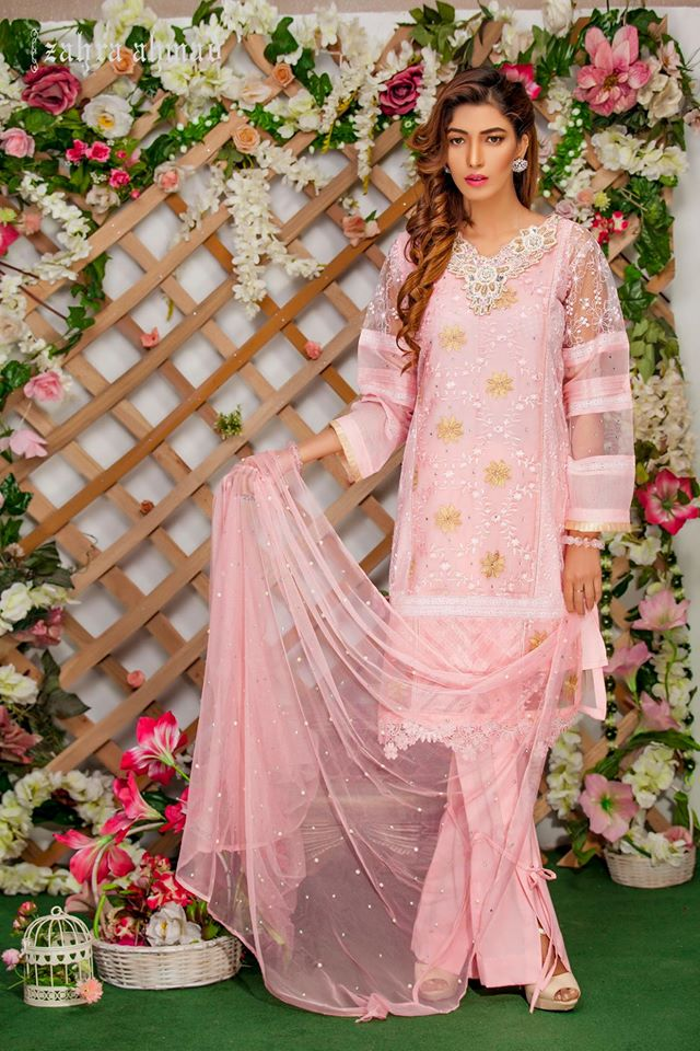 Powder Pink Zahra ahmed Eid Collection 2017