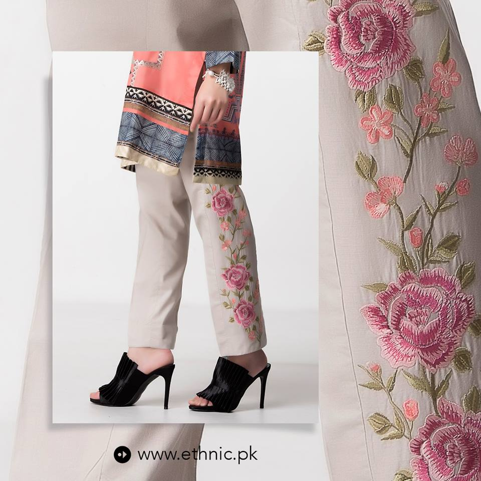 latest 2017 Grey Winter Embroidery Pants by ethnic