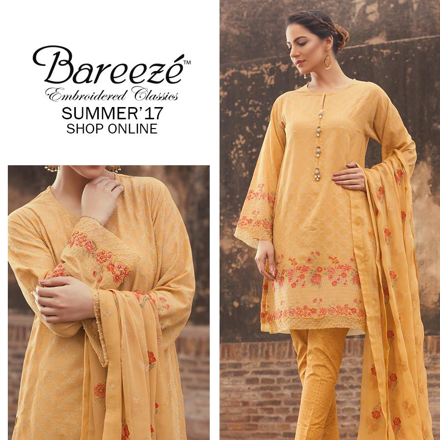 Light Orange Bareeze Embroiderd Collection 2017