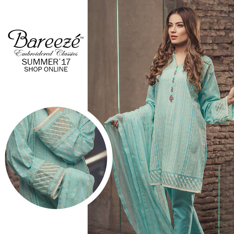 Aqua blue Bareeze Embroiderd Collection 2017