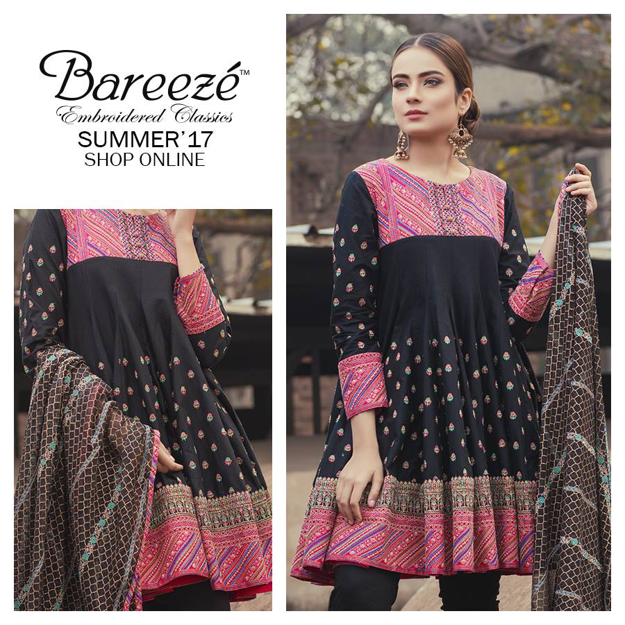 black frock style eid dress by bareeze