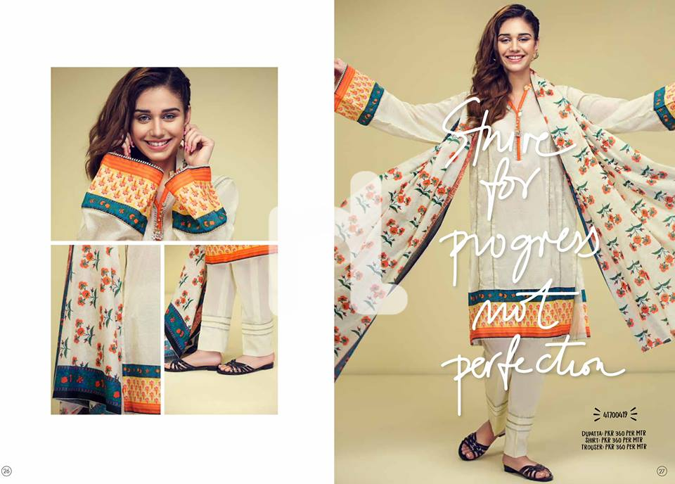 Nishat orange printed suit 3pc for Eid