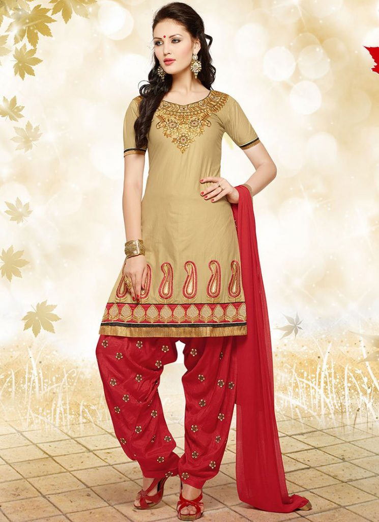 Indian Party Wear Shalwar Kameez Beige Outfit