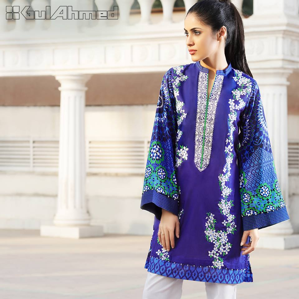 Gul Ahmed blue Embroidered lawn Eid Collection