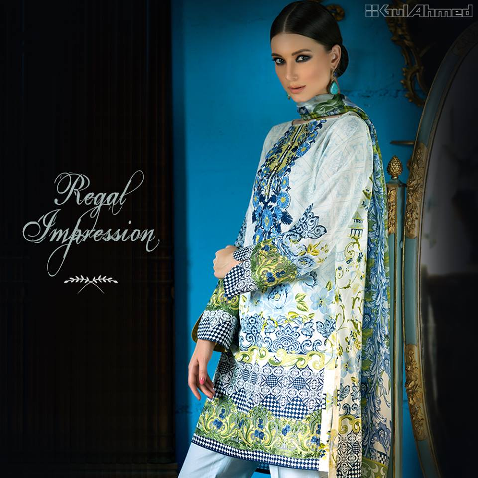 Gul Ahmed Aqua blue Embroidered lawn Eid Collection
