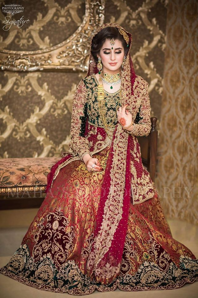 Green Open Shirt With red Lehnga Bridal Dresses