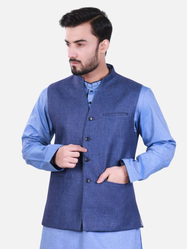 Navy Blue Waist Coat Eden Robe Collection