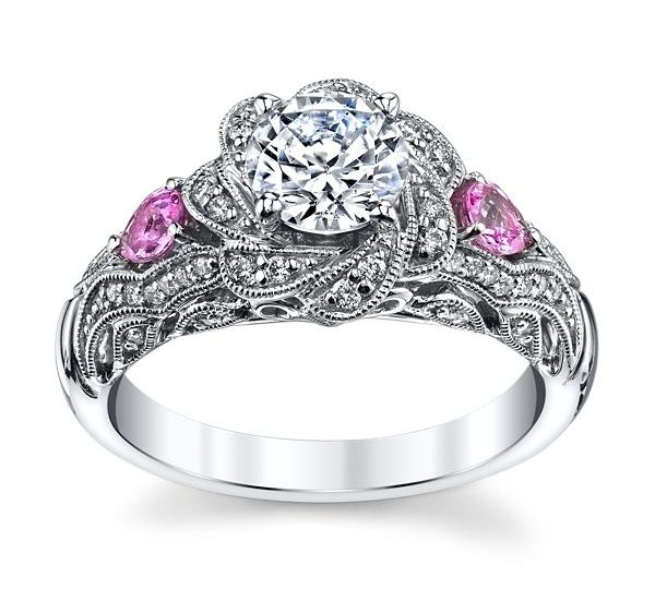 Floral diamond shape engagement ring