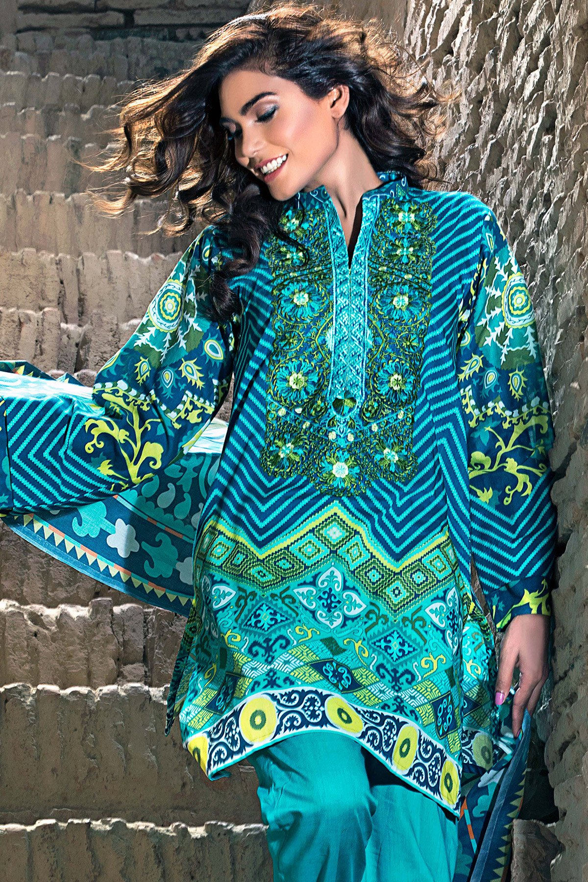 Turquoise 3-Piece Printed Lawn Gul Ahmed Eid-ul-Azha collection