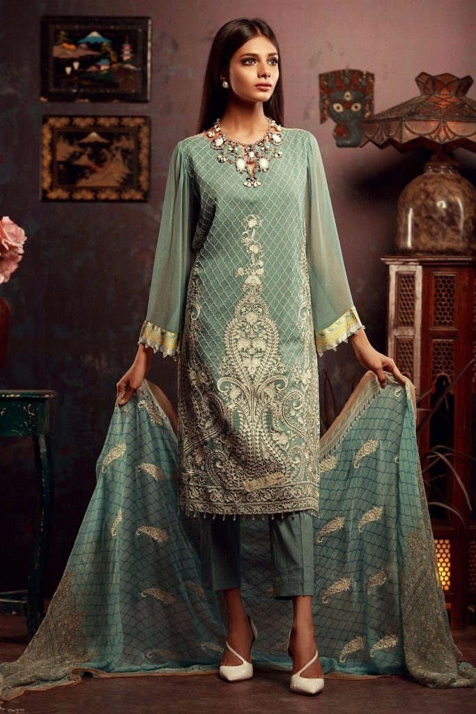Light Blue Khaadi Mid Summer Collection