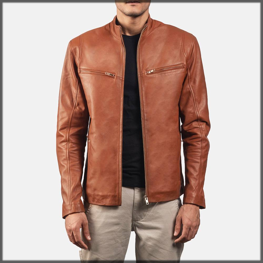leather jacket for pakistani men - in brown