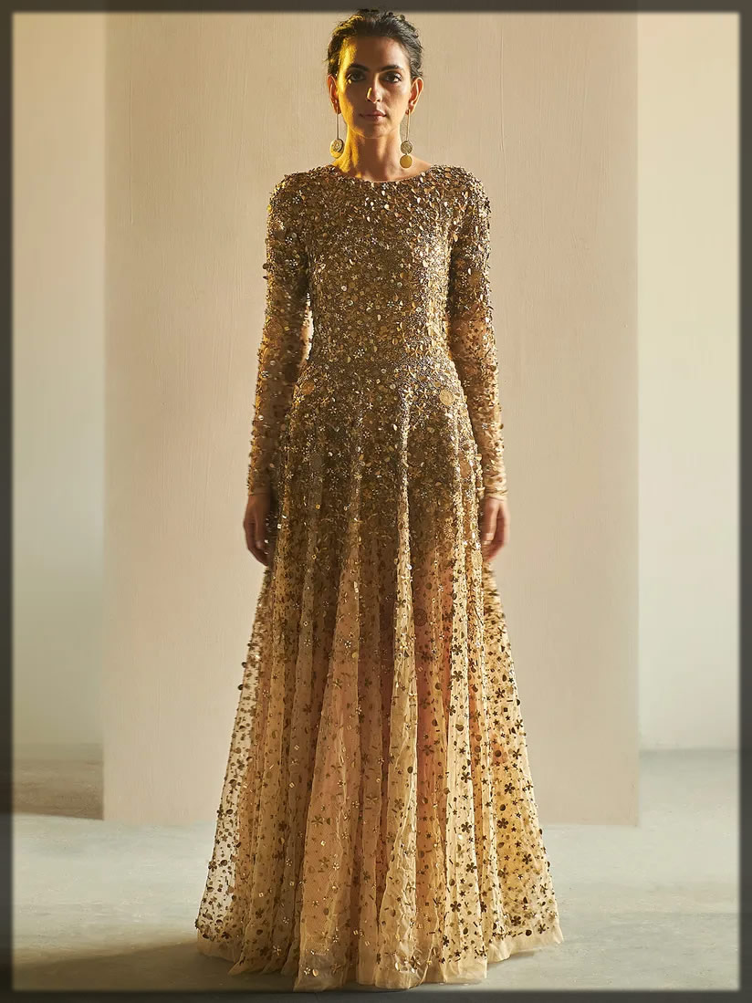 party wear golden gown