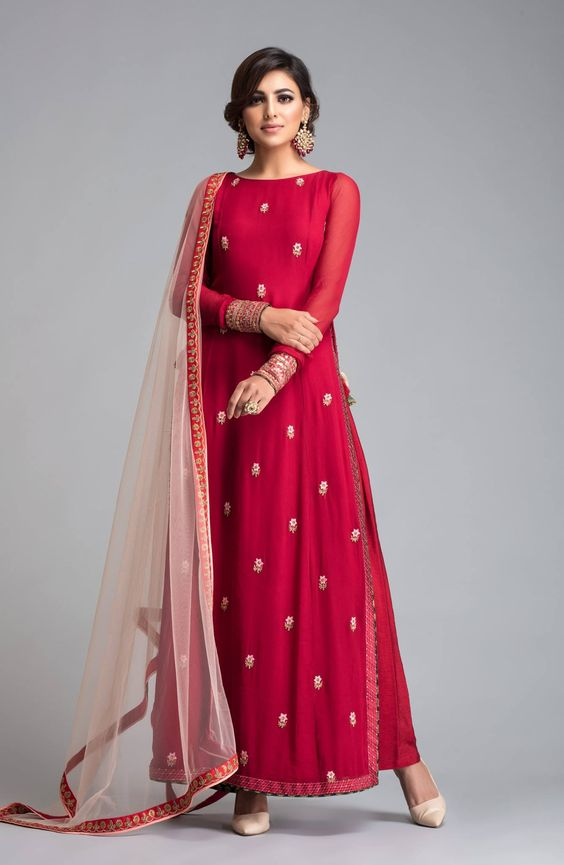 Pakistani Boutique Style Long Red Silk Attire