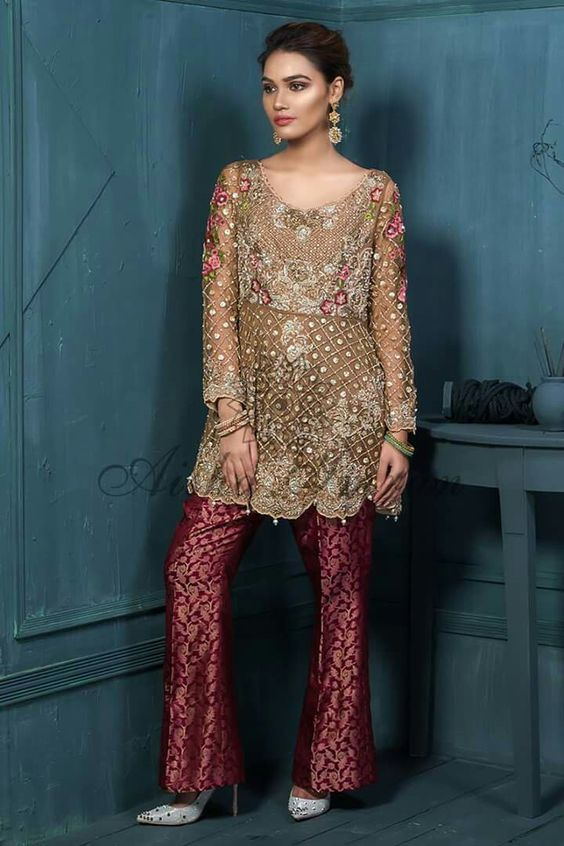 Indian and Pakistani Frock Designs Brown peplum with maroon trouser