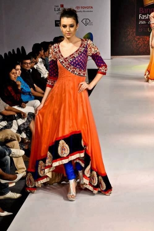 Indian and Pakistani Frock Designs Orange angrakha