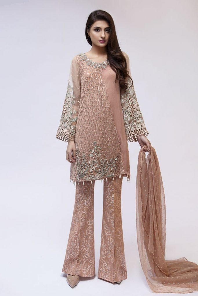 Maria B Latest Evening Wear Dresses Beige Suit