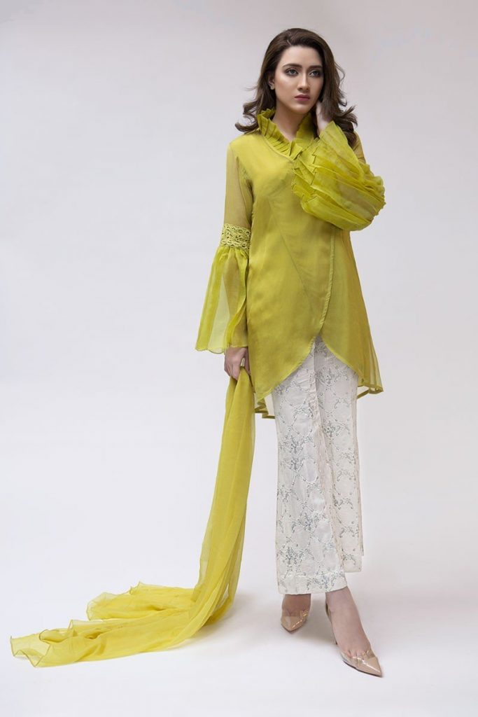Maria B Latest Evening Wear Dresses Dark Yellow Suit