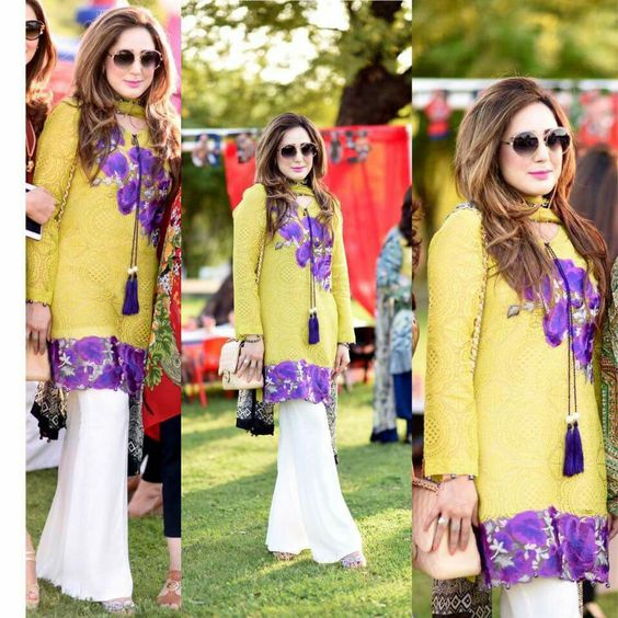Pakistani Dresses With Bell Bottom Trouser for casual