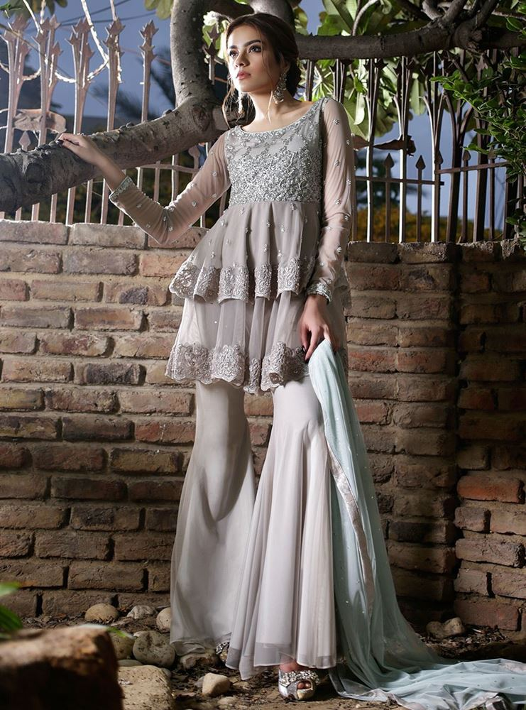 Zainab Chottani Formal Dresses ash white and ice blue