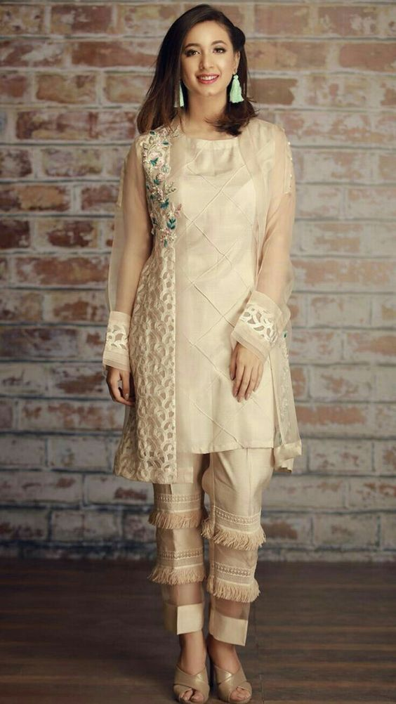 Latest Pakistani Boutique Style Dresses Beige Fancy Shirt