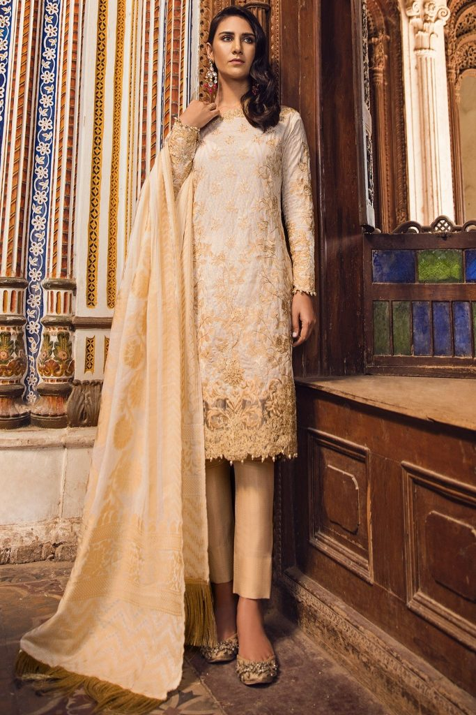 Alkaram Beige Embroidered Jacquard For Eid