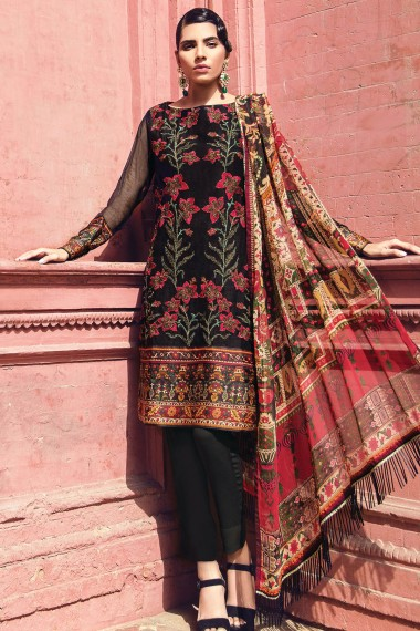 Alkaram Black Net Embroidered Cotton For Eid
